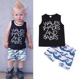 "Crystal Blue Flare Australia - Toddler Baby Boys Sleeveless Tees Cloud Shorts ""WAVES SHADES AND BABES"" Letters Pringting Black Vest Blue Pants 2pieces Sets for 0-2T"