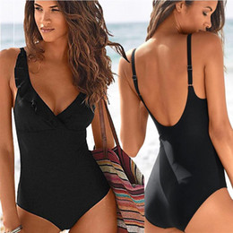 v swimsuits Australia - Sexy Swimwear Women One Piece Deep V Swimsuit Ruffle Bathing Suit Backless Swimming Suit Bodysuit Vintage Female
