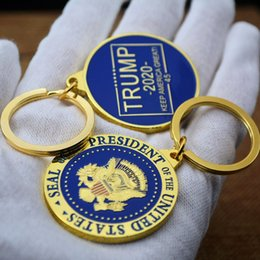 Wholesale make badges resale online - Trump Metal Keyring Keychain Badge Key Chain Gifts key holder party favor Trump make american great Keychain pendant FFA2327