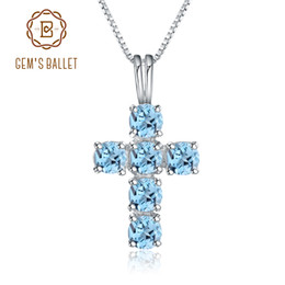 ballet necklaces Canada - Gem's Ballet Natural Swiss Blue Topaz 925 Sterling Silver Gemstone Cross Pendant Necklaces for Women Fine Jewelry Collares