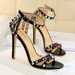 sexy super high heels shoes Canada - Super High Heels Women Shoes Sexy Studs Colored Riveted Sandals Slippers Candy Open Toes Fashion Female Slides Summer Ladies Ankle Strap r10