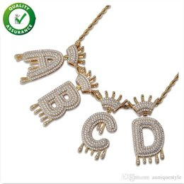 mens crown pendant Australia - Iced Out Pendant Hip Hop Jewelry Mens Luxury Diamond Vintage Crown English Letter Tassel Pendants with Rope Chain Women Wedding Accessories