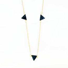 Discount natural black stone pendant - Handmade Gold Chain Necklace Natural Black Triangle Lava Stone Pendant Necklace Layer Boho Choker For Women