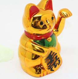 Lucky Decor Australia - 5 inch Chinese Lucky Cat Wealth Waving Cat Gold Waving Hand Maneki Cute Home Decor Welcome Waving Cat KKA7007