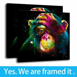 Support Painting Australia - Bedroom Decor Modern Art Colourful Animal Monkey Print Canvas Painting Framed Art - Ready To Hang - Support Customization