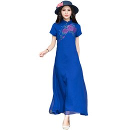 $enCountryForm.capitalKeyWord UK - Silk Chiffon Print Women Dress Vintage Elegant Summer Short Sleeve Long Dress National Wind Plus Size Stand Collar Dress Re0718