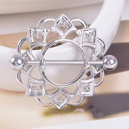 Surgical Steel nipple ringS online shopping - 1pcs Sexy Surgical Steel Flower Body Nipple Bar Barbell Piercing Shield Rings Rushed Ear Plugs Fake Piercing