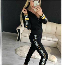 Tennis knee online shopping - XXL fendi Women Two Piece Clothing Set Tracksuit Patchwork Hoodie Sweatshirt Long Pant Jogger Outfit Set Female Sweat Suit Factory