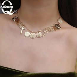 gold chokers cross 2019 - Charms Round Portrait Coins Cross Statement Choker Trendy Multi Layered Chain Gold Jesus Pendant Necklace women Jewelry