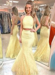 Backless Lace Light Yellow Dress Australia - Light Yellow Two Pieces Mermaid Prom Dresses Floor Length Backless Criss Cross Straps Lace Evening Dresses 2019 Robes De Soiree Party Gowns