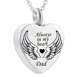 Asa de anjo sempre no meu coração cremação urna cinzas jóias colar de pingente de lembrança venda por atacado