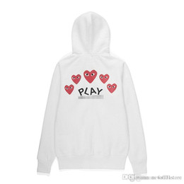 Wholesale little red hearts online – ideas New Quality Com DES play GARCONS CDG HOLIDAY Heart Emoji Unisex Casual Little Red Heart Pullover Zipper Sweatshirts Hoodies Coat C058D White