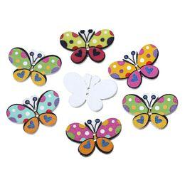"$enCountryForm.capitalKeyWord NZ - Wood Sewing Button Scrapbooking Butterfly At Random 2 Holes 30mm(1 1 8"")x 20mm( 6 8""),7 PCs new"