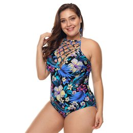 $enCountryForm.capitalKeyWord Australia - One Piece Swimsuit Plus Size High Neck Floral Teddy Swimwear Monokini maillot de bain femme 2019 Large Size Swimming Sui