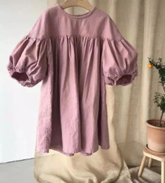 organic girls dresses Australia - Newest INS Little Girls Organic Linen Cotton Dresses Puff Long Sleeve O-collar Stripes Blank Pink Back Buttona Children Girls Casual Dress