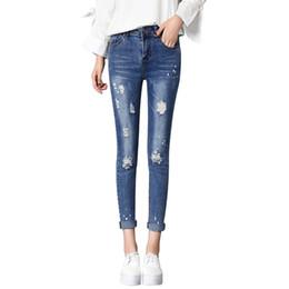 5141d9f5445 2018 New Design Popular Nice Woman Women's Cute Broken Torn Ripped Jeans  Boyfriends Girl Slim Stretch Denim Pants Femme C19041801