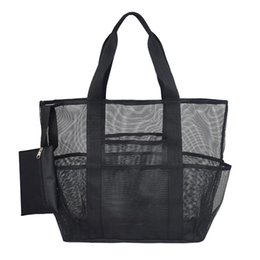 black swimming toys UK - Mesh Beach Travel Bag Large Capacity Storage Totes Bags For Towels Water Bottles Swimming Suit Outdoor Toys Beach Black Bag Tote