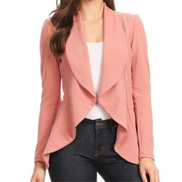 Office blazers online shopping - 2019 Fashion Office Lady Women Blazer Sleeve Blazer Open Front Short Cardigan Suit Work Office Black Blue Grey Formal
