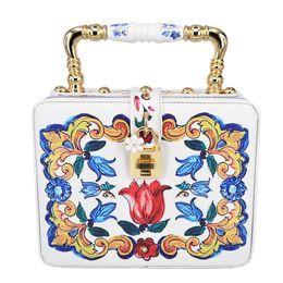 $enCountryForm.capitalKeyWord NZ - Fashion Black Printing Flower Box Women Handbag Lock Flap Purse Pochette Original Designer Floral Lady Strap Shoulder Bags Z820 Y190627