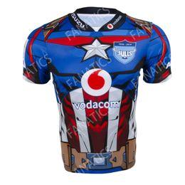 Großhandel 2019 New Super Rugby Südafrika Marvel Comic Captain America Vodacom Bulls Superheld Herren Trikot S M L XL XXL XXXL