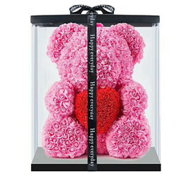 Plastic Red Heart Australia - 10pcs 40cm with Heart Big Red Bear Rose Flower Artificial Decoration Christmas Gifts for Women Valentines Gift with box