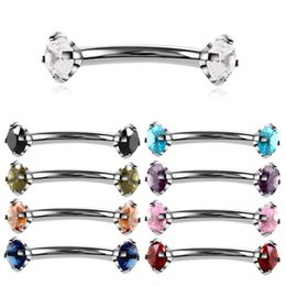 1 pc aço cirúrgico sobrancelha gem anel curvo sobrancelha pircing curvo barbell piercings de banana jóia do corpo bijoux earlets on Sale