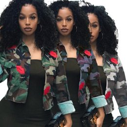camouflage jacket wholesale Australia - Women plus size camouflage Jackets lapel neck Cardigan long sleeve print outwear crop top sportswear tops fall winter clothing hot sell 1605