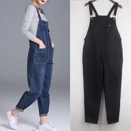 Harem Jumpsuits Women Australia - Plus Size 4xl 5xl Boyfriend For Pockets Denim Jumpsuits Long Pants Women Harem Jeans Overalls Wide Leg Rompers C4310 Q190418
