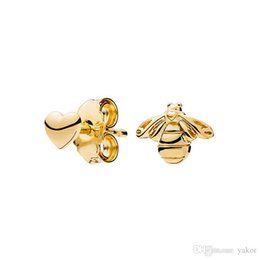 Pandora Gold 18k Australia - NEW Fashion 18K Gold plated bee and heart Asymmetrical EARRING for Pandora 925 Silver Stud Earring With Original box set