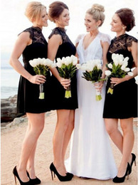 $enCountryForm.capitalKeyWord NZ - 2019 Newest Black Lace Short Bridesmaid Dress Cheap Beach Wedding Guest Gown Party Cocktail Maid Of Honor Dresses