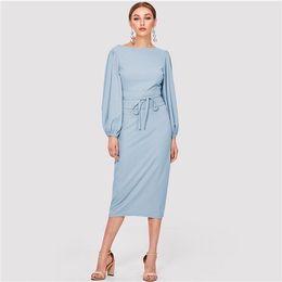 8f3837af61 2019 Elegant Workwear Blue Solid Tie Waist Sleeve Boat Neck Knot Zipper  Pencil Dresses Women Slim Sheath Autumn Dress