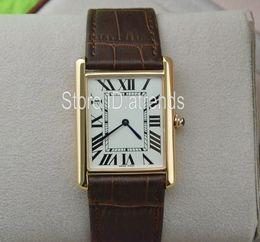 ab9aa60e8fec Serie Super Thin Top Moda Reloj de cuarzo Hombres Mujeres Hora Oro rosa  Dial Marrón Correa de cuero Vestido Reloj Rectángulo clásico Diseño 546F