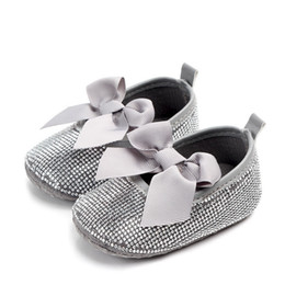 Bling Party Decorations Australia - DHL 100pair Baby Girl Diamond Decoration With Bow Shoes Soft Sole Shoes Prewalker Party Princess Toddler Indoor Casual