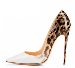 burgundy evening shoes Canada - Brand Women Pumps Leopard White Shoes Woman High Heels Stiletto Evening Shoes Women Patent Leather Sexy Designer Heels