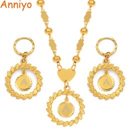 $enCountryForm.capitalKeyWord Australia - Anniyo A-z Letters Pendant Necklaces Sets Women Girls English Initial Alphabet Ball Bead Chains Marshall Hawaii Jewelry #192606 J190625