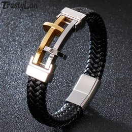 mens hand bands Australia - Rope Chain Pray Cross Bracelet Man Leather Gold Black Stainless Steel Mens Bracelets Hand Jewelry Wrap Band With Magnet Clasp