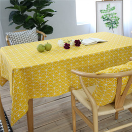 table cloths covers NZ - Yellow Geometric Tablecloth Cotton Linen Wedding Party Decor Table Cover Home Decorative Rectangular Table Cloth