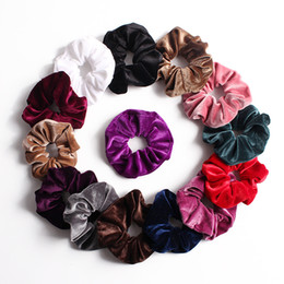 Chinese  50pcs Girl Lady women's winter Hair Scrunchies Ring Elastic Hair Bands Pure Color Bobble Sports Dance Velvet Soft Scrunchy Hairband FJ3350 manufacturers