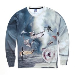 $enCountryForm.capitalKeyWord Australia - Hot Sale Space Galaxy Cats Print 3D Sweatshirts Hoodies Unisex Men Women Pullovers Long Sleeves Spring Autumn New Style