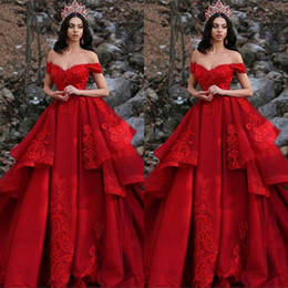 Gold layered prom dress online shopping - Plus Size Newest Red Prom Party Dresses Off Shoulder Appliques Sequins Layered Ruffles Formal Pageant Gowns Vestidos