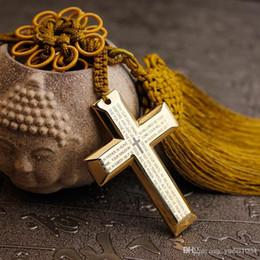 Titanio acciaio Gesù Crocifisso Croce Car specchio retrovisore Decorazione Vetture ciondolo appeso decorazione ornamenti Accessori Regali creativo Pe in Offerta