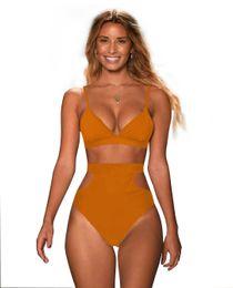 $enCountryForm.capitalKeyWord UK - Very Popular Multi-color high waist slim Sexy ladies split swimsuit New nylon fabric solid color women swimwear Europe and America bikini
