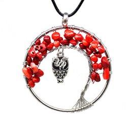 10pcs caduto perline di corallo Bonsai albero della vita ciondolo collana con gufo fortunato fascino placcato argento filo avvolto guarigione gioielli di yoga reiki
