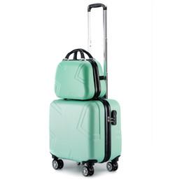 3cd326336 Las mujeres 18 pulgadas ABS maleta y estuche de cosméticos 2pcs / Set de  niñas / niños Maleta de viaje Conjuntos Spinner con cremallera Equipaje con  bolsa ...