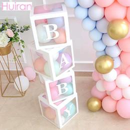 HUIRAN Girl Boy Baby Shower Decorazioni Scatola trasparente Baby 2 1st 1 One Birthday Party Decor Regalo Babyshower Bomboniere Forniture in Offerta