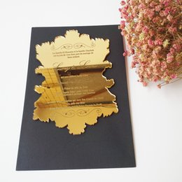 Golden weddinG invitations cards online shopping - 120pieces Per inch Vintage Leaf Shaped Golden Mirror Acrylic Wedding Invitation Card SHIP TO UK ONLY