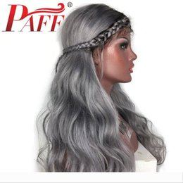 gray lace front human hair wigs NZ - PAFF Ombre Color Lace Front Human Hair Wigs Ombre Gray Wigs Pre Plucked Brazilian Remy Hair Wig with Bleached Knots