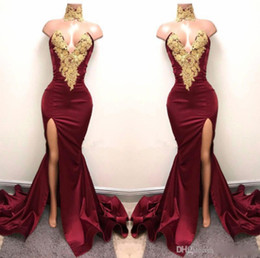 $enCountryForm.capitalKeyWord NZ - New Design 2K19 Sexy Burgundy Prom Dresses with Gold Lace Appliqued Mermaid Front Split for 2019 Long Party Evening Wear Gowns