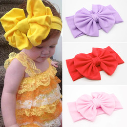 Wholesale Children Baby Girls Big Large Ruched Bowknot Hairband Candy Solid Color Headwear Wide Elastic Headband Knotted Turban