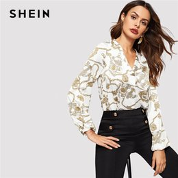 5a3aa3ca1f Shein Office Lady White Cut-out V Neck Chain Print Top 2019 Elegant Workwear  Long Sleeve Blouse Women Autumn Top Blouses Y190417